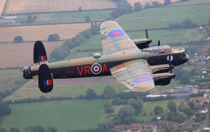 """The Lancaster MK X """"VRA"""" is one of two Lancaster bombers that remain in airworthy condition today. The bomber, maintained by the Canadian Warplane Heritage Museum flew a cross atlantic flight from Ontario to Coningsby, Lincolnshire in the UK, to join the Battle of Britain Memorial Flight MK I on a five week road show in the UK. Photo: MOD, Crown Copyright."""