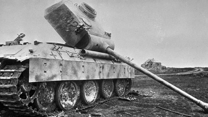 A German Pz V Panther tank destroyed near Prokhorovka, July 1943.