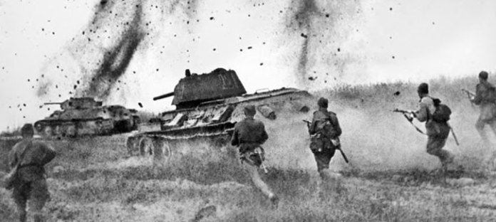 An assault by T-34 tanks and infantry near Prokhorovka, July 1943.