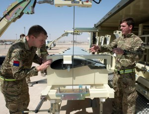 ltor, Gunner James Bridley and Lance Bombardier Kev Hedeaux from 43 Battery, 47 Regiment, Royal Artillery assembling a Watchkeeper Unmanned Aerial Vehicle (UAV) in Camp Bastion. Photo: MOD, Crown Copyright