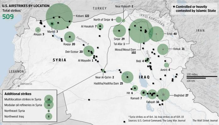 Statistical summary of coalition air strikes in Iraq and Syria - August-October 15, 2014. Source: Wall Street Journal