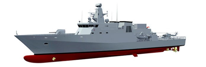 The OPV designed by TKMS was based on the MEKO 80 OPV, a shorter version of the MEKO 100 class corvette. Photo: TKMS