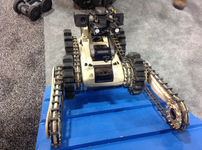 Roboteam also displayed this version of MTGR robot adapted to inspect confined spaces in search for IEDs. Photo: Tamir Eshel, Defense-Update.