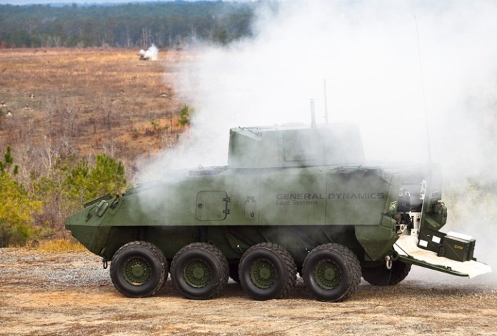 A similar test held at the same location in February 2014 demonstrated the Stryker fitted with the same turret, mounting the MK44 cannon.