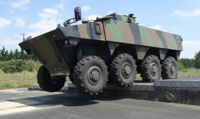 Nexter has increased the maximum Gross Vehicle Weight (GVW) of the VBCI to 32 tons, addressing the French Army requirement for increased protection and future growth. Applique armor plates are visible on the vehicle sides and belly. Photo: DGA