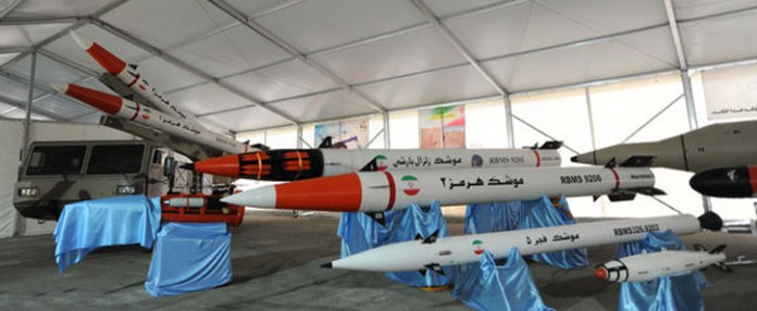 Iran is developing a broad range of ballistic guided rockets and missiles, from the 330mm Fajr 5 to the 2000 km range class Sejil. Photo: Iran's President Website