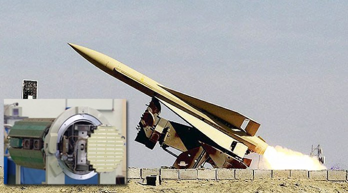 Iranian Shalamcheh missile launched from the Khatam al-Anbia Air Defense Base in Southern Iran.  Shalamcheh is the third phase of the an indiginously produced clone of the American Hawk missile, reverse engineered by the Iranians. Shalamcheh is equipped with a modern, digital seeker developed in Iran (insert).