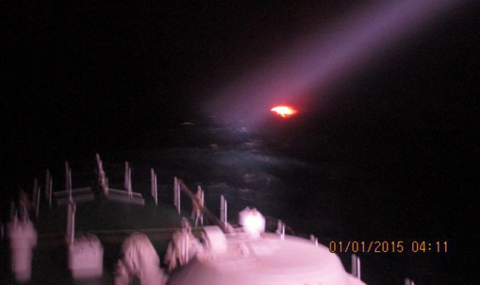 An Indian Coast Guard patrol boat illuminates the burning Pakistani fishing boat. The crew of the suspected boat burned and exploded their boat after an hour long pursuit by the Indian vessel. The Coast Guards was on high alert following intelligence warning about a possible attack in the area.