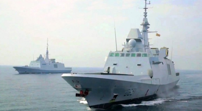 The French Navy is expected to operate eight Aquitaine class (FREMM) frigates. The first two - L'Aquitaine and Normandie are seen in this picture taken early 2014 in the Attlantic. Egypt also wants two such frigates for its modernized navy.