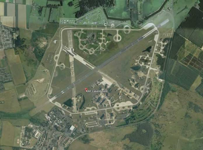 Two US Air Force F-35A squadrons will be permanently based in RAF Lakenheath in the UK by 2020. Photo: Google Earth