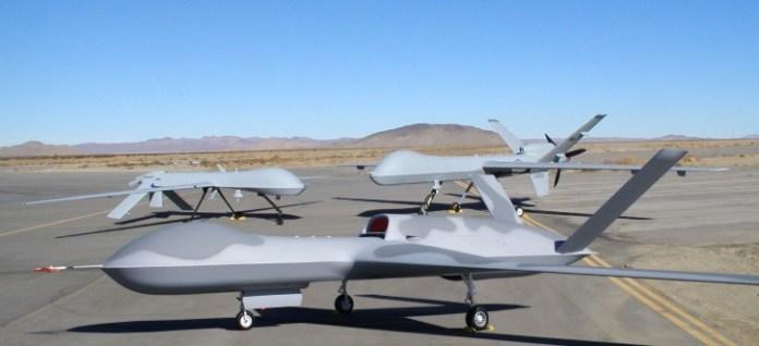 A family of drones from General Atomics - forward: Predator C 'Avenger', far left - MQ-1 Predator I and far right: MQ-9 Reaper.
