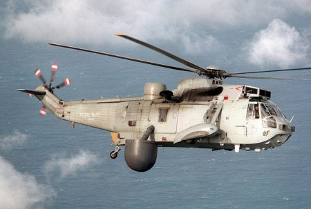 849 AEW Sea King from 849 squadron in flight over southwest of Cornwall. Photo: Crown Copyright by Bernie Pettersen