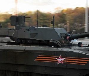 The T-14 main battle tank is armed with a new model of the 125mm cannon, comprising a larger auto-loader packing 32 rounds. The weapon system is mounted on an unmanned turret with the two crew members seated in a protected cell in the hull. (Subscribers can click to enlarge) Photo: Vitaly Kuzmin