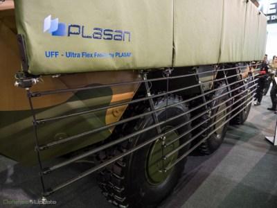Plasan's new Ultra Flex add-on armor includes the Flexible Slat Armor (HFS) skirts developed by Plasan. Photo: Noam Eshel, Defense-Update