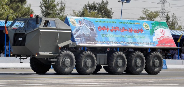 THe Zoljanah 10x10 heavy duty truck was displayed for the first time in 2012. It is believed to be the platform carrying four Sayyad-3 missiles in sealed canister-launchers.