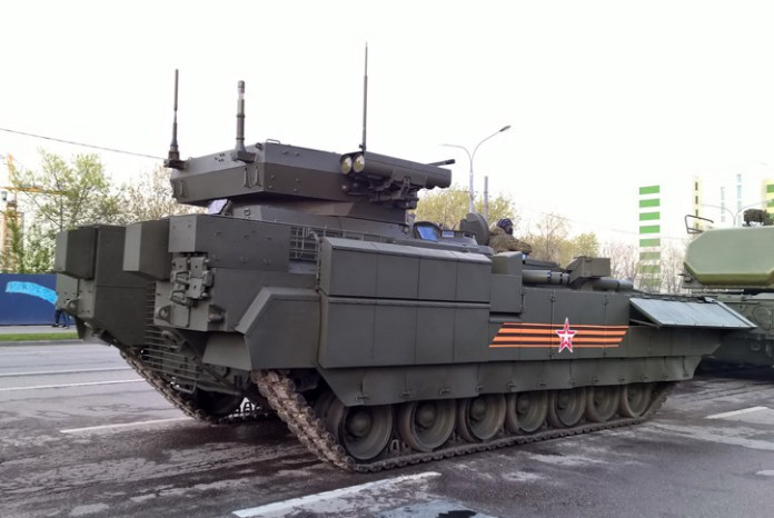 A rear view of the T-15 showing part of the bar armor protecting the rear ramp door. Photo: Bastion Karpenko