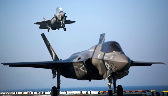 Six of the US Marine Corps F-35B deployed on board USS Wasp for OT-1. Photo: US Marine Corps