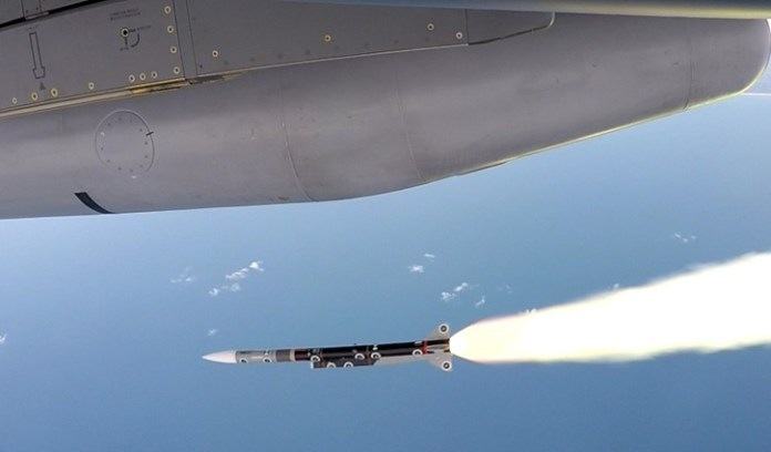 MBDA Meteor long range air/air missile launched on a test flight from Rafale. Photo: Dassault Aviation.