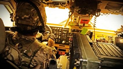 A backseat view of an M-ATV Photo: US Army photo by Ryan Crane.