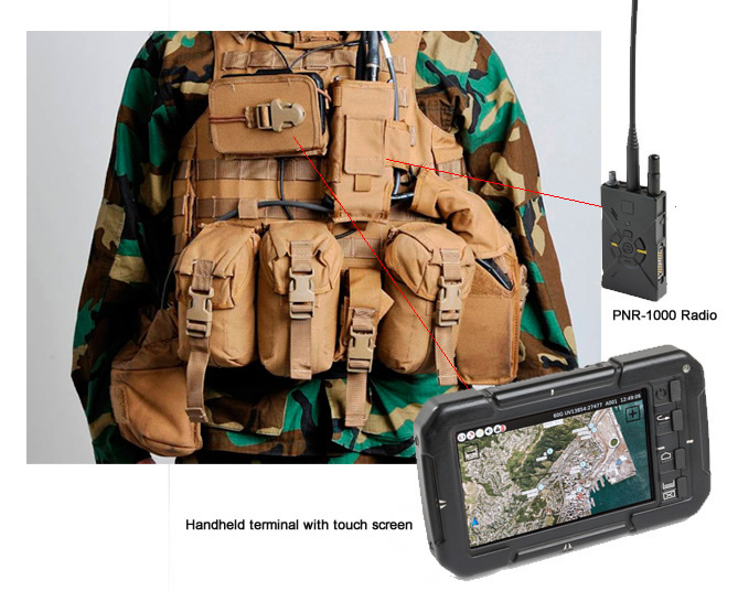 The Smart Vest includes the PNR-1000 MANET SDR radio and hand-held tactical terminal, integrated into the load carrying and protection suite. Photo: ELbit Systems & Royal Netherlands Army.