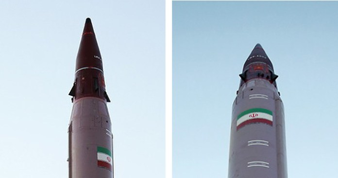 Two views of the new MARV employed on the EMAD ballistic missile. Photo: Iranian MOD