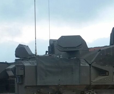 These two Windguard AESA radars are part of the 360 degrees sensor of the Trophy system. They provide the situational picture, threat detection and fire control cueing for the Trophy APS system. Photo: IMOD