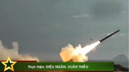 Vietnamese Extra rocket fired from a coastal defense site. Photo: Vietnamese navy.