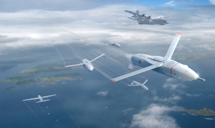 The unmanned Gremlins would be deployed from support aircraft, and carry a mixture of mission payloads capable of generating a variety of effects. They will be operated in a distributed and coordinated manner, providing greater operational effectiveness and flexibility, compared with current, monolythic platforms. Artist concept: DARPA