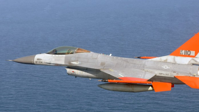 The USAF is using unmanned QF-16s for target practice and training with live weapons. The QF-16 replaces the obsolete QF-4 Phantom drones. In the future, such platforms could also assume combat roles as 'avatars' or companions to manned aircraft. Photo: Boeing