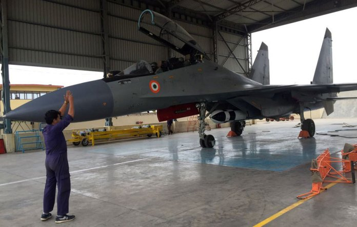 BrahMos integrated on an Indian Air Force Sukhoi Su-30MKI fighter jet prepared for the first test flight, June 25, 2016.
