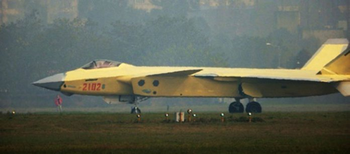 The second low-rate initial production aircraft marked 2102 seen during ground checks at Chengdu.