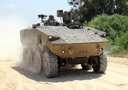 Israel's new Eitan 8x8 wheeled armored personnelo carrier has entered developmental testing. Two more prototypes are in production and will begin testing soon. Photo: Israel MOD