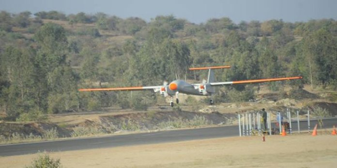 India's new Rustom II MALE drone takes off on its maiden flight, November 16, 2016. Photo: DRDO