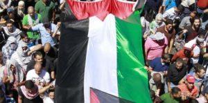 تغير القوة: الأردنيون يرفعون الأعلام الفلسطينية خلال احتجاج ضد الهجوم العسكري الإسرائيلي في قطاع غزة ودعمًا لسكان غزة في الأول من شهر أغسطس. وعلى الرغم من المكاسب العسكرية الإسرائيلية، إلا أن الأمر لم يستغرق الكثير بالنسبة لمقاتلي حماس لتحقيق انتصارات في ساحة الرأي العام. (خليل مزرعاوي / إيه إف بي / موقع جيتي إيميدجز)