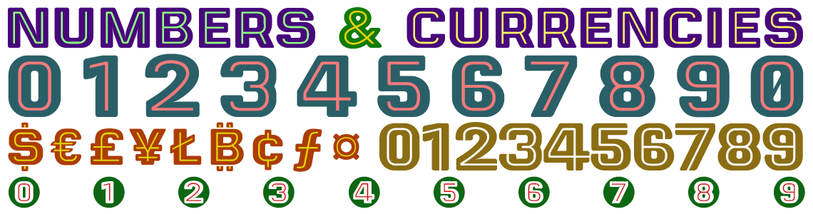 Letrera Caps Layered Color Fonts Numbers