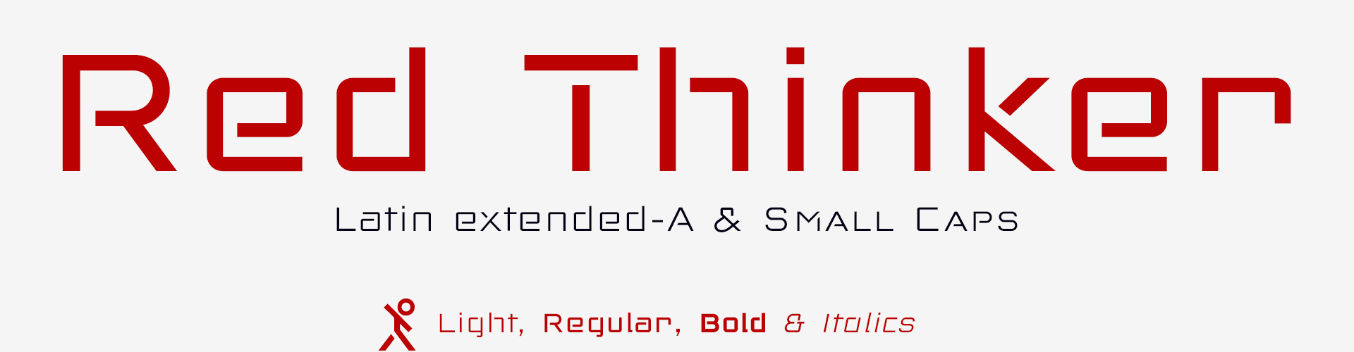 Red Thinker techno fonts. Latin Extended-A & Small Caps