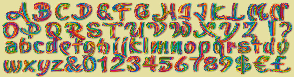 Alphabet Stoica Color Font. Only for Adobe CC 2018