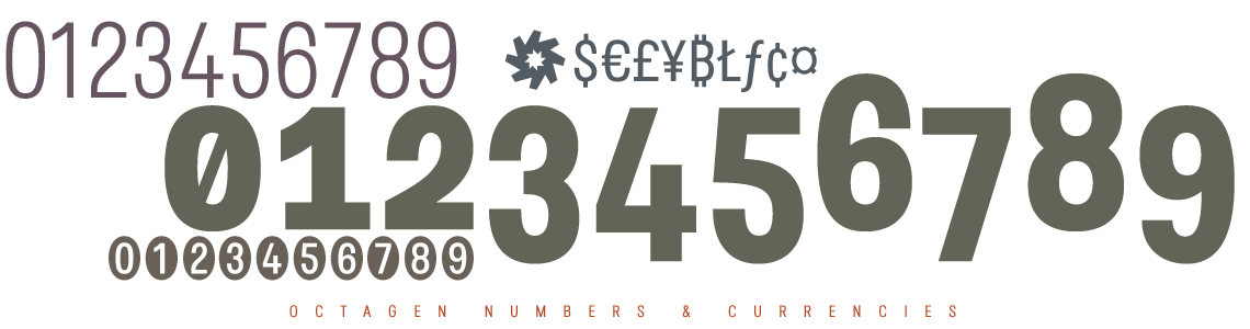 Octagen Sans Condensed -Numbers & Currencies
