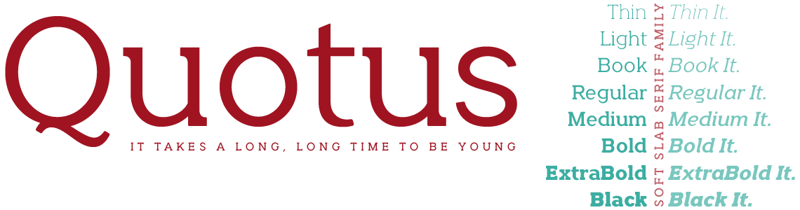Quotus Slab Serif - It Takes a long, long time to be young.
