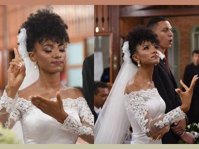 Kéziah traduzindo Libras no casamento - Fotos: Reprodução/Emerson Garbini Fotografia