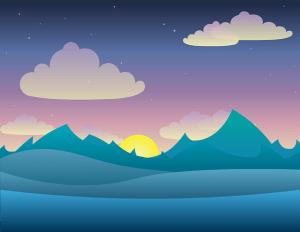 Un paysage au levé du soleil