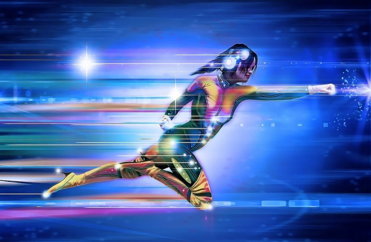 Une femme super héro vole dans les airs. (défis 30 jours)
