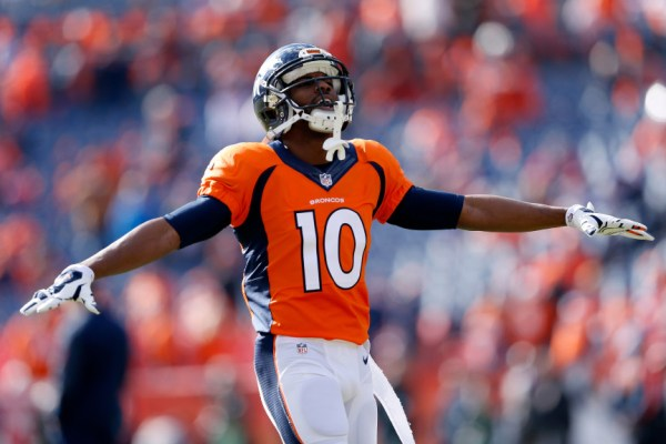 DENVER, CO - JANUARY 24: Emmanuel Sanders #10 of the Denver Broncos warms up prior to the AFC Championship game against the New England Patriots at Sports Authority Field at Mile High on January 24, 2016 in Denver, Colorado. (Photo by Christian Petersen/Getty Images)