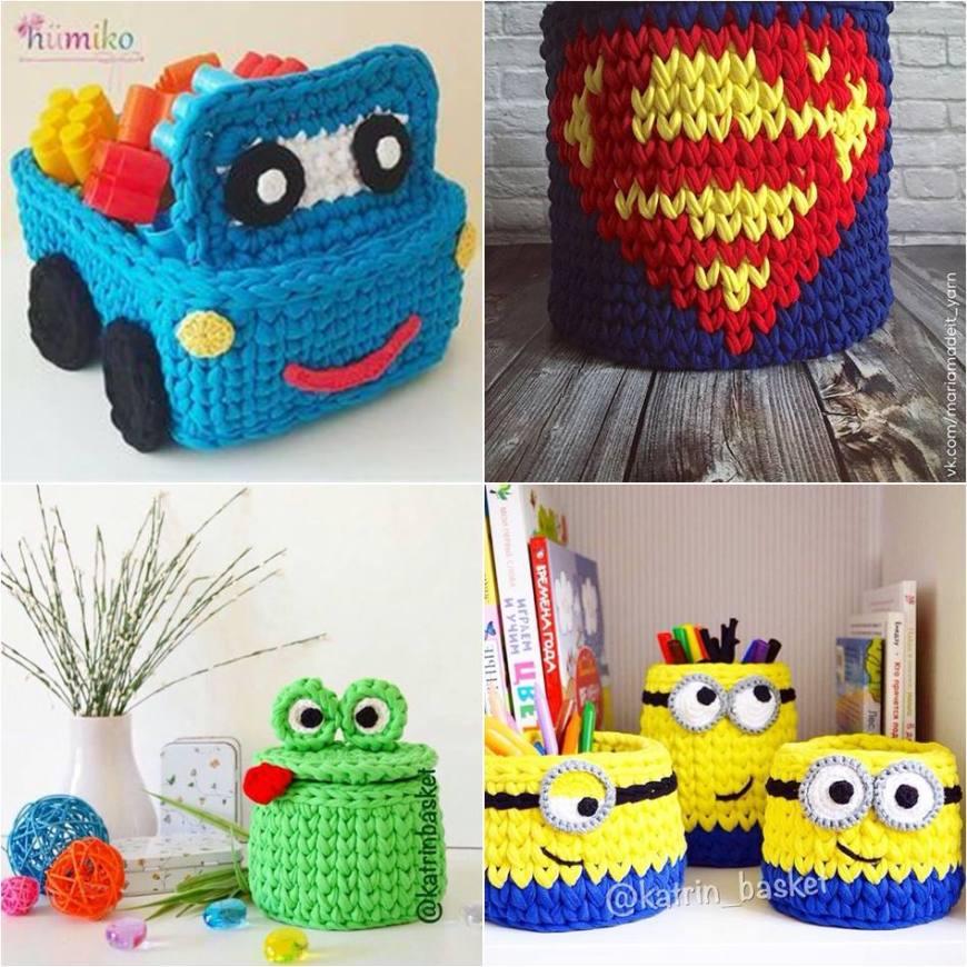 cesta de croche com fio de malha - DIY - artesanato - infantil
