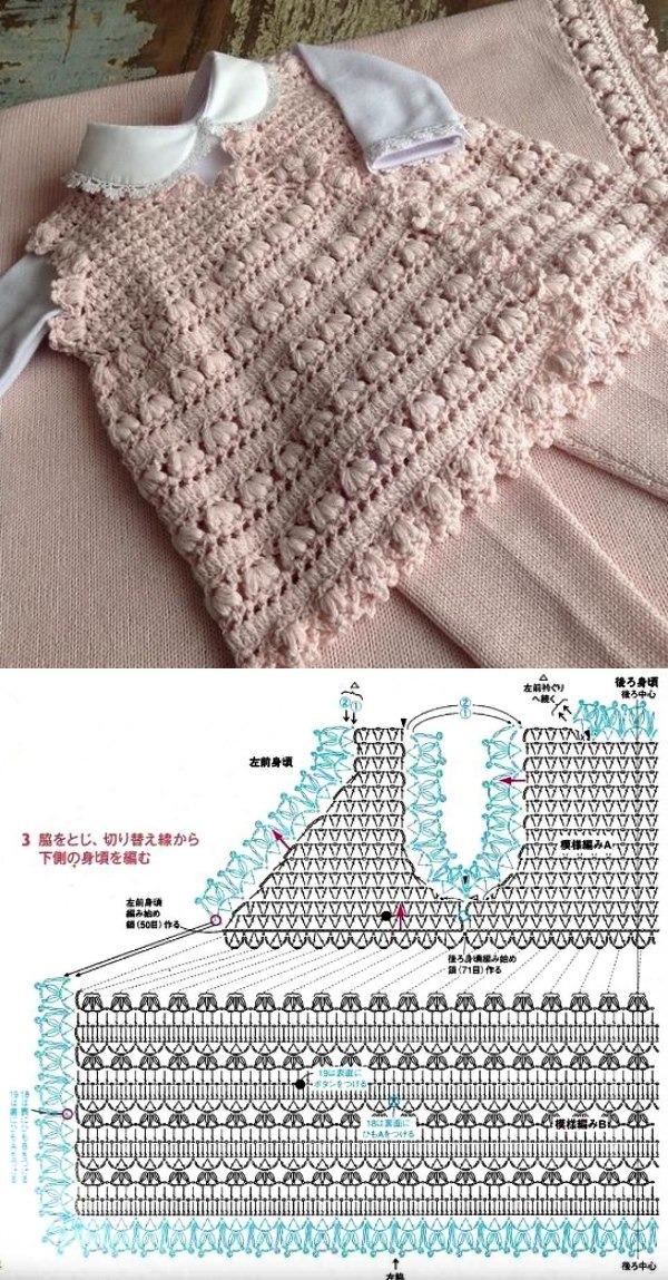 Lindos modelos de vestido infantil em crochê com gráfico