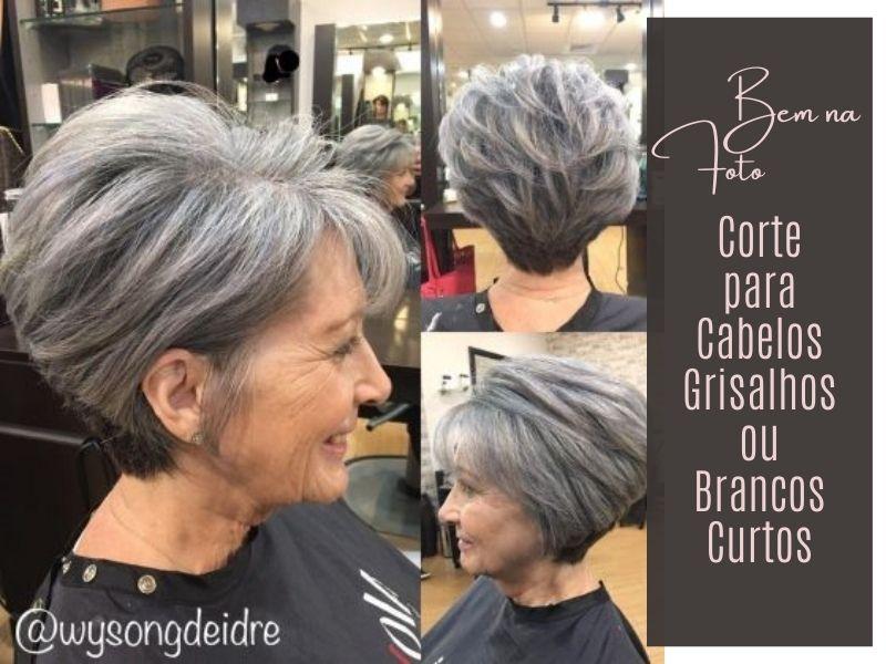 Corte para cabelos grisalhos ou brancos curtos femininos