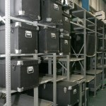 Cold Cases: A metal rack of boxes in a warehouse