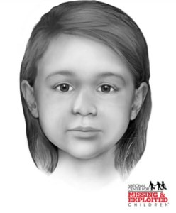 "Based on the size and shape of the child's skull, an artist from the National Center for Missing and Exploited Children (NCMEC) created this rendition of ""Little Miss Nobody's"" face. Courtesy NCMEC and the Yavapai County Sheriff's Office"