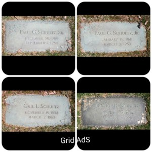 Gail and Paul Schultz, grave stones photography Tom Myers, grid AdS