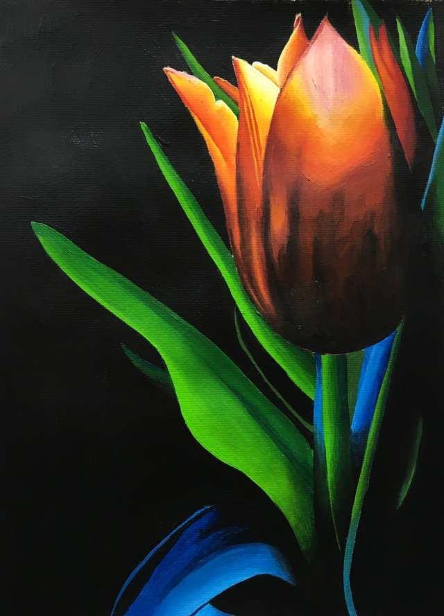 deGranero pintar flores con acrílico